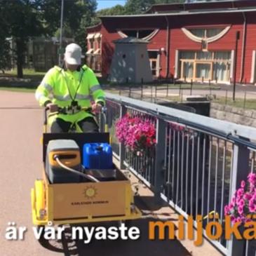 I Karlstad vattnas blommorna med hjälp av lastcykel